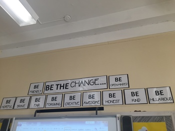 Be The Change Wall Poster / Classroom Decor / Black and White / Fun Discussion
