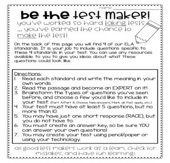 Be The Test Maker - An ELA Enrichment Activity