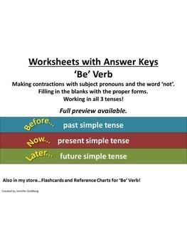 ESL: 'Be' Verb - Simple Tenses - Worksheets with Answer Keys