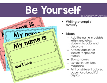 Be Yourself - Editable Writing Prompt