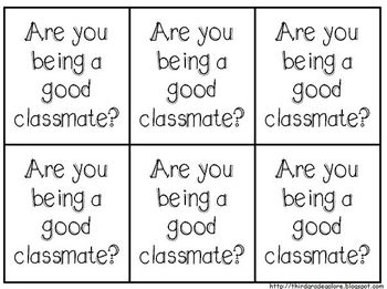Be a Good Classmate Reminder Cards