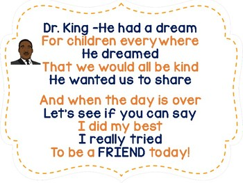 Be a Good Friend..Adapted Book and Poem to Celebrate Dr. King and Friendship