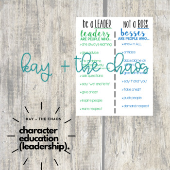 Be a Leader, Not a Boss Anchor Chart/Poster