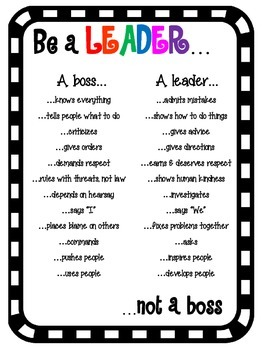 be a leader not a boss poster by teaspoon of teaching tpt. Black Bedroom Furniture Sets. Home Design Ideas