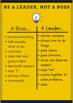 Be a Leader, Not a Boss Poster/Anchor Chart