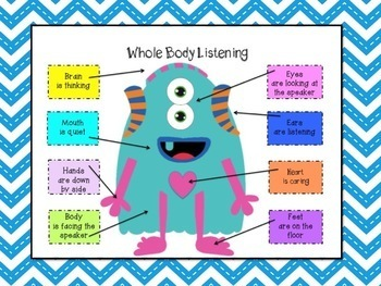 "Be a Mon""star"" Student using Whole Body Listening Guidance Counseling Lesson"
