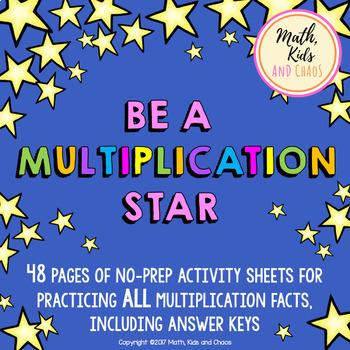 Multiplication Fact Printables - Be a Multiplication Star