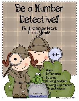 Be a Number Detective Math Center Work First Grade