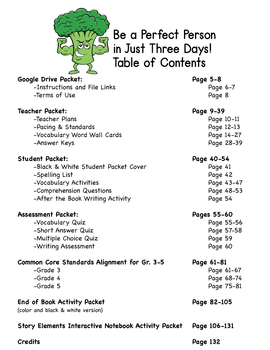 Be a Perfect Person in Just 3 Days Novel Study Book Unit