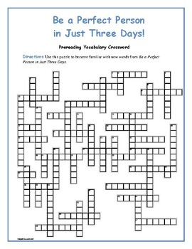 Be a Perfect Person in Just Three Days: Prereading Vocab  Crossword—Great Prep!