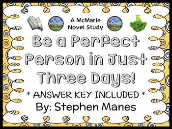 Be a Perfect Person in Just Three Days! (Stephen Manes) Novel Study  (26 pages)