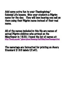 Be a Pilgrim Kid Name Tags-30 Names