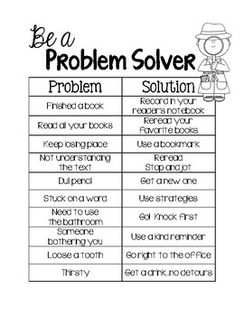 Be a Problem Solver Anchor Chart & Printable for Interactive Reader's Notebook