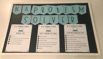 Be a Problem Solver Chromebook Bulletin Board Display - black and white