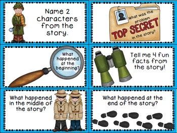 Reading Comprehension Task Cards and Bookmarks - Be a Reading Detective!