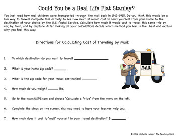 Flat Stanley Informational Reading Math and Writing Activity Distance Learning