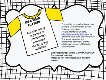 Be a Team Player Game (Using Appropriate Behaviors in Groups)
