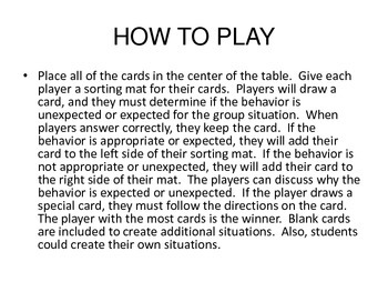 Be a Team Player Game (Using Appropriate Behaviors in Groups