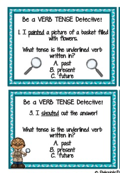 Be a VERB TENSE detective with these VERB TENSE TASK CARDS!!