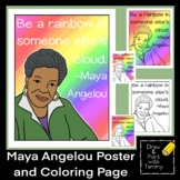 Be a rainbow in someone else's cloud Maya Angelou quote poster and coloring page