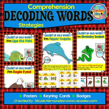 Reading Comprehension Strategy Anchor Charts, Mini Cards and Student Badges