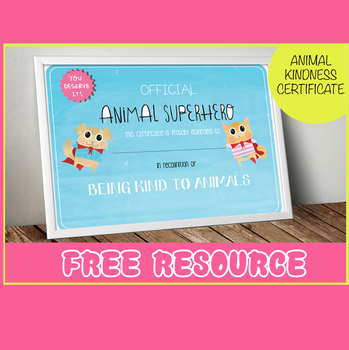 Be kind to animals certificate