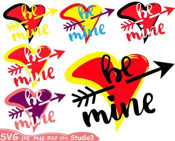 Be mine Silhouette SVG clipart Studio3 love heart Valentines Day Arrow -70sv