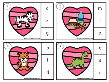 Be my Valentine- Beginning Sounds Clip it Cards with Recording Sheet