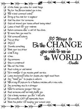 Be the Change - Kindness Challenge Printable