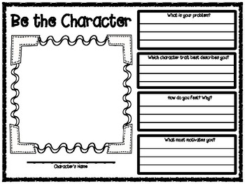 Be the Character Pre-Writing Character Analysis Graphic Organizer