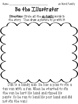 """Be the Illustrator and Reporter"" Word family pack Level 1"