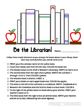 Be the Librarian - Following Directions