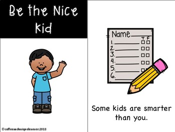 Be the Nice Kid Bulletin Board, Reader, and Writing Activity