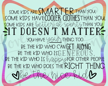 Be the Nice Kid Poster - 2 sizes