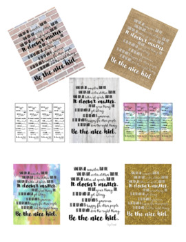 Be the Nice Kid Quote Sign and Bookmarks