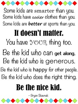 Be the Nice Kid Large Vertical Quote Poster - Mardel Isabella Collection