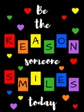 Be the Reason Someone Smiles Today Poster (Primary Colors) - positive message