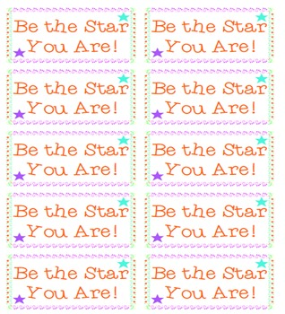 Be the Star You Are Testing Motivation and Encouragement Candy Label