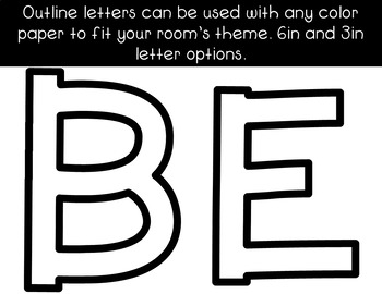 Be the Sunshine Bulletin Board Letters Set ~ Color and B&W Options
