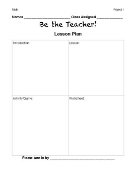 Be the Teacher! Project