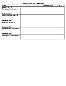Be the Teacher for a Day Project - Lesson Plan Template