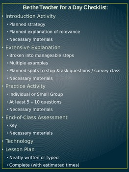 Be the Teacher for a Day Project - Project Checklist