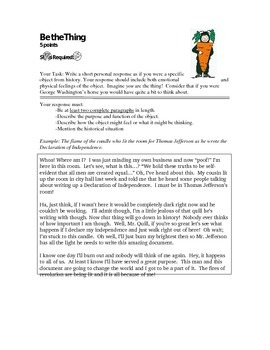 Be the Thing - Social Studies Interactive Notebook Activity