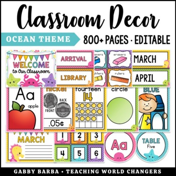 At the Beach & By the Sea Classroom Decor Bundle {500+ pages!}