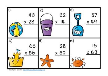 Beach 2 Digit Multiplication Task Cards