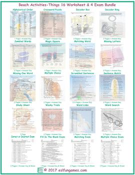 Beach Activities-Things 16 Worksheet- 4 Exam Bundle