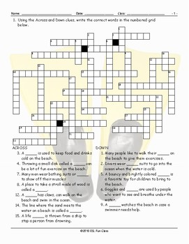 Beach Activities-Things Crossword Puzzle