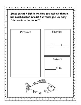 Beach Addition and Subtraction Story Problems, Kindergarten Version