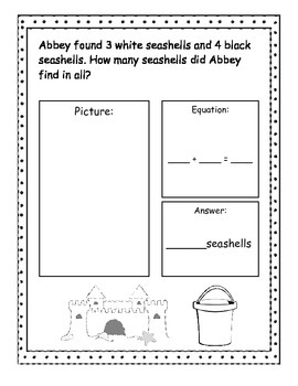 Beach Addition and Subtraction Story Problems, Kindergarte