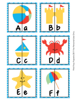 Beach Alphabet Letter Match Puzzles